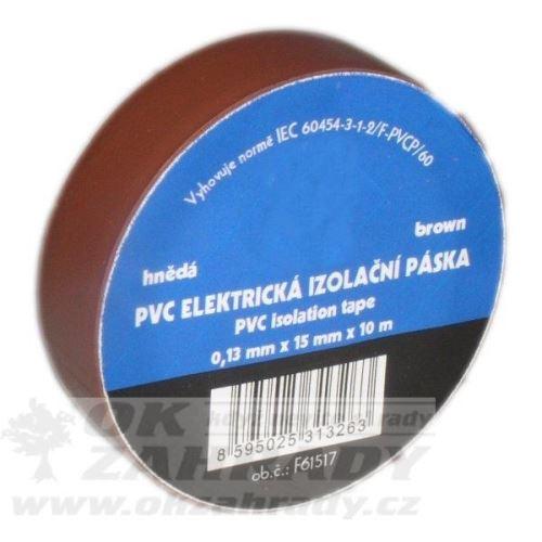 Izolační páska PVC / barva hnědá, š. 15mm, 10 m