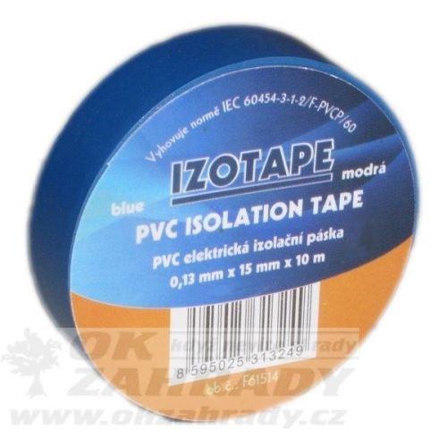 Izolační páska PVC/barva modrá, š. 15 mm, 10 m