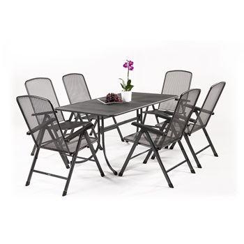 Basani 6+ - sestava nábytku z tahokovu (6x pol. křeslo Savoy Basic, 1x stůl Universal 160)