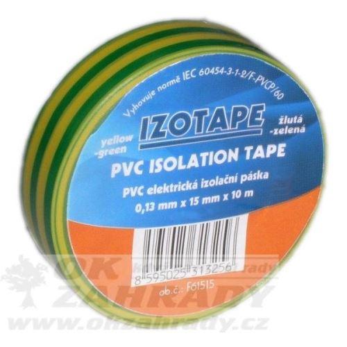Izolační páska PVC/barva žluto-zelená, š.15mm, 10m